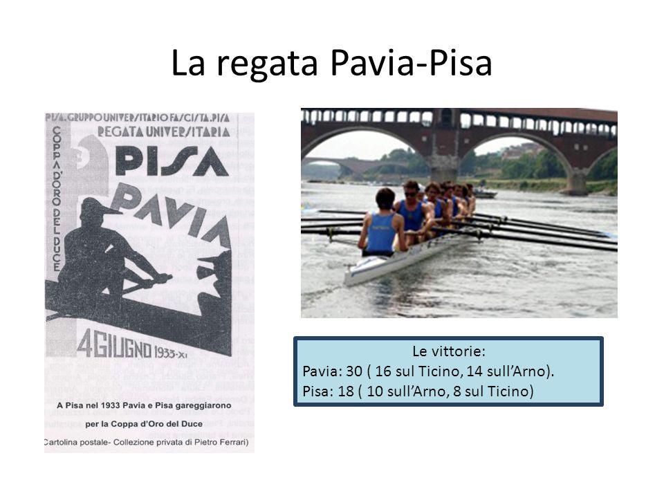 La regata Pavia-Pisa Le vittorie: Pavia: 30 ( 16 sul Ticino, 14 sull'Arno).