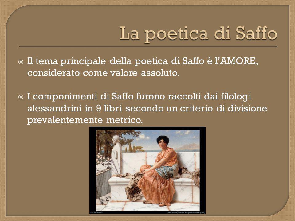  I componimenti di Saffo hanno quasi sempre una funzione legata al ruolo di guida del Tiaso che Saffo ricopre.