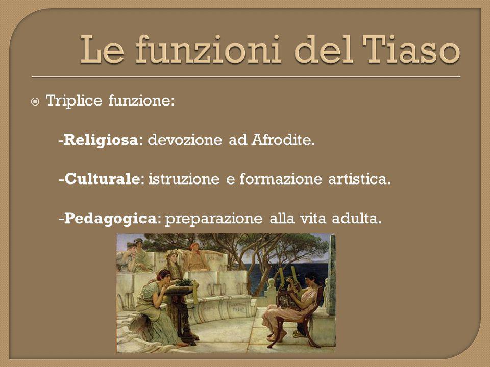  Triplice funzione: -Religiosa: devozione ad Afrodite.