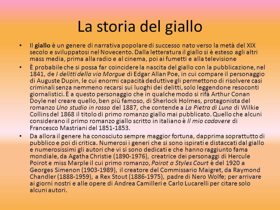 La storia del giallo Il giallo è un genere di narrativa popolare di successo nato verso la metà del XIX secolo e sviluppatosi nel Novecento. Dalla let