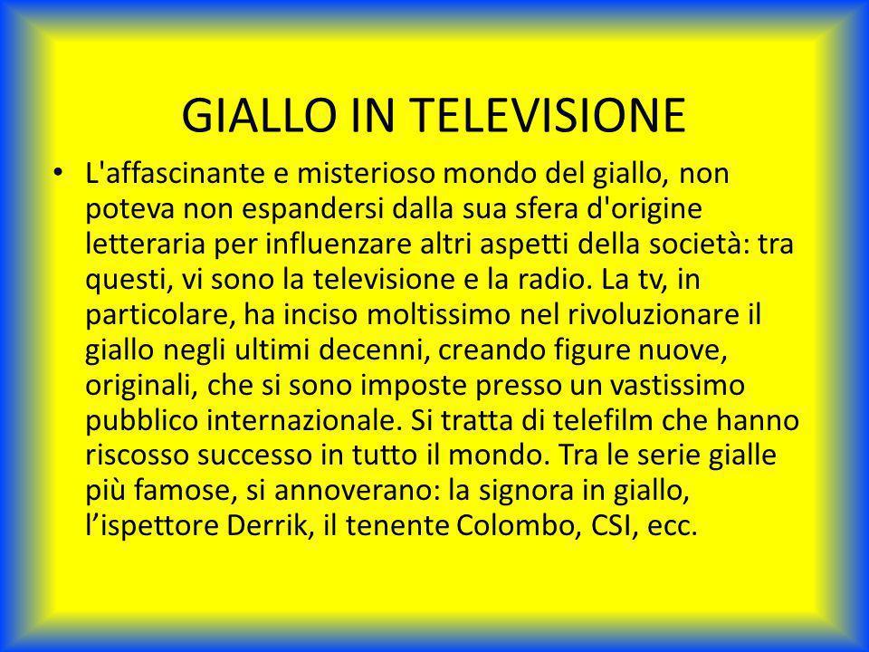 GIALLO IN TELEVISIONE L'affascinante e misterioso mondo del giallo, non poteva non espandersi dalla sua sfera d'origine letteraria per influenzare alt