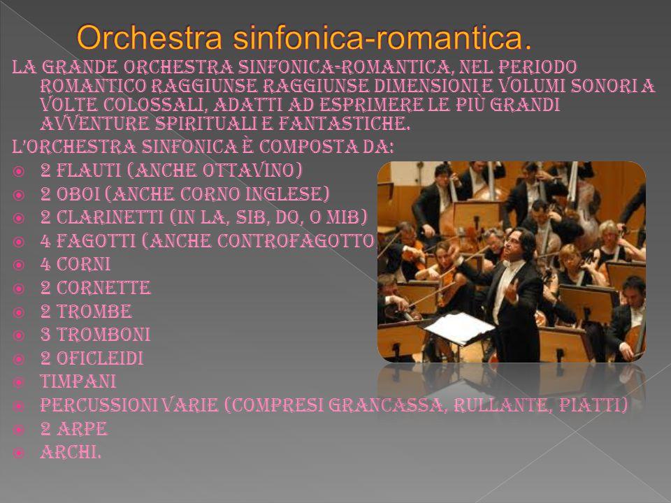 La grande orchestra sinfonica-romantica, nel periodo romantico raggiunse raggiunse dimensioni e volumi sonori a volte colossali, adatti ad esprimere l
