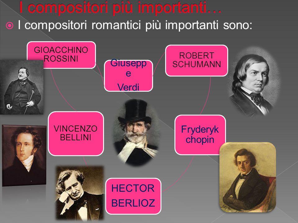  I compositori romantici più importanti sono: Giusepp e Verdi ROBERT SCHUMANN Fryderyk chopin HECTOR BERLIOZ VINCENZO BELLINI GIOACCHINO ROSSINI