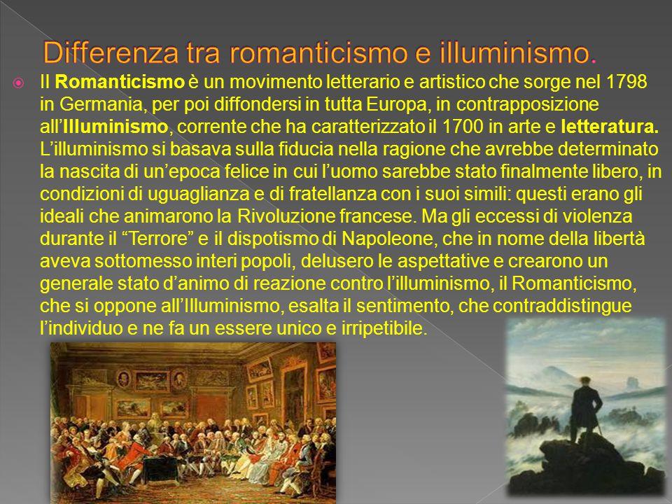  Il Romanticismo è un movimento letterario e artistico che sorge nel 1798 in Germania, per poi diffondersi in tutta Europa, in contrapposizione all'I