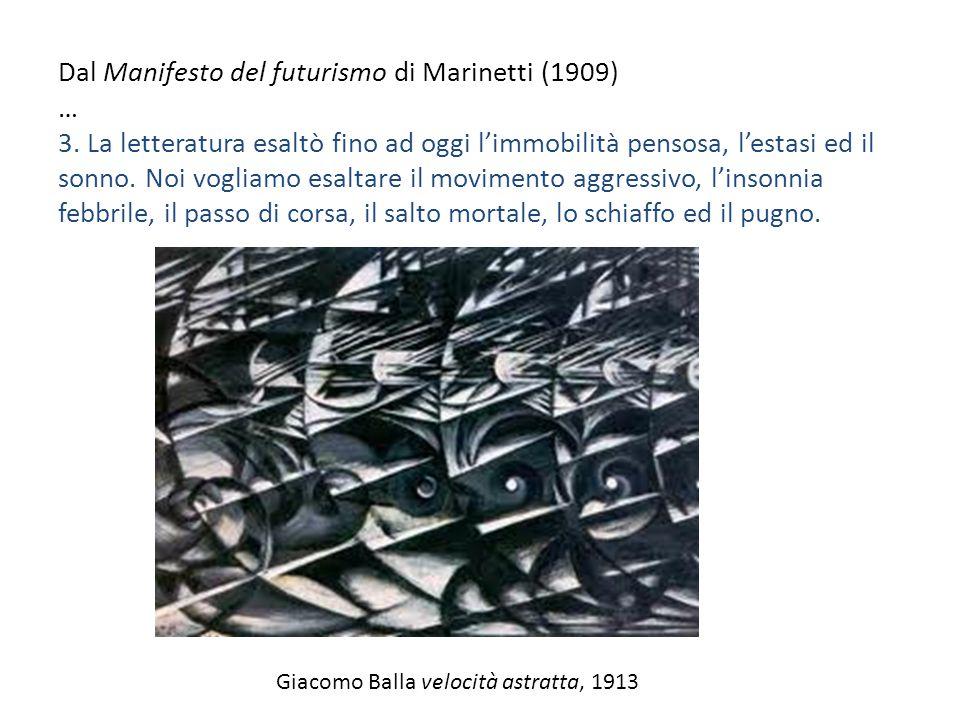 Dal Manifesto del futurismo di Marinetti (1909) … 3. La letteratura esaltò fino ad oggi l'immobilità pensosa, l'estasi ed il sonno. Noi vogliamo esalt