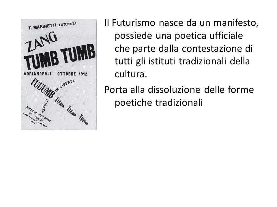 Il Futurismo nasce da un manifesto, possiede una poetica ufficiale che parte dalla contestazione di tutti gli istituti tradizionali della cultura. Por