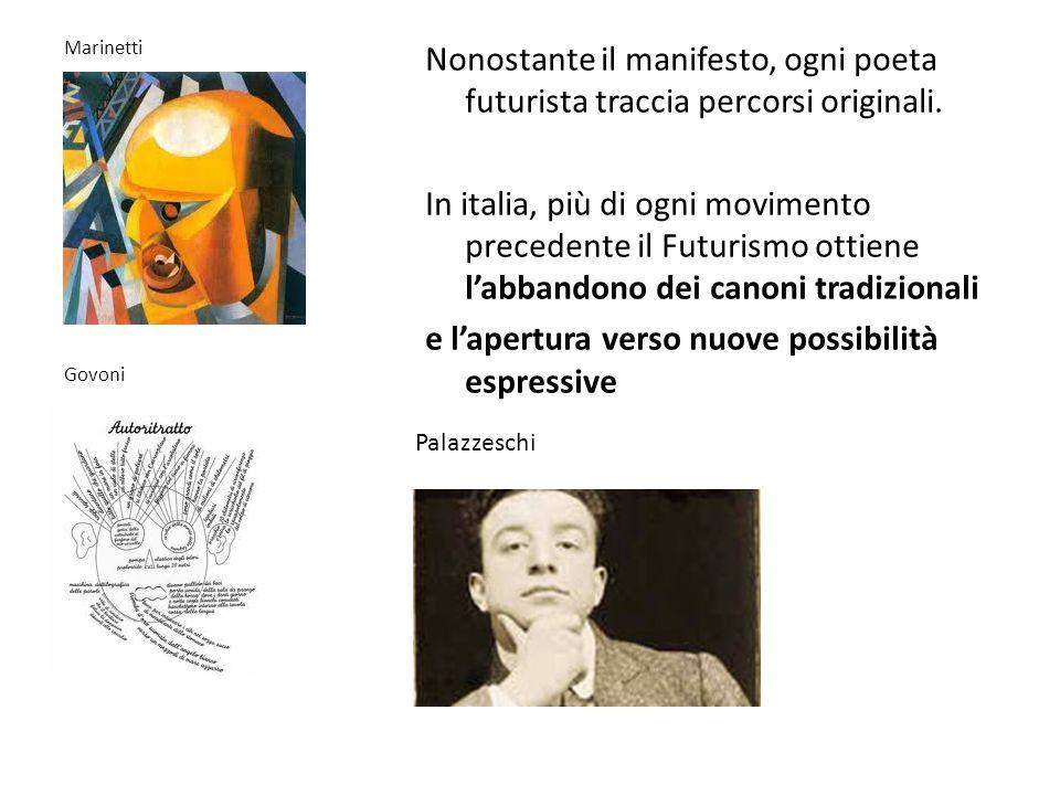 Nonostante il manifesto, ogni poeta futurista traccia percorsi originali. In italia, più di ogni movimento precedente il Futurismo ottiene l'abbandono