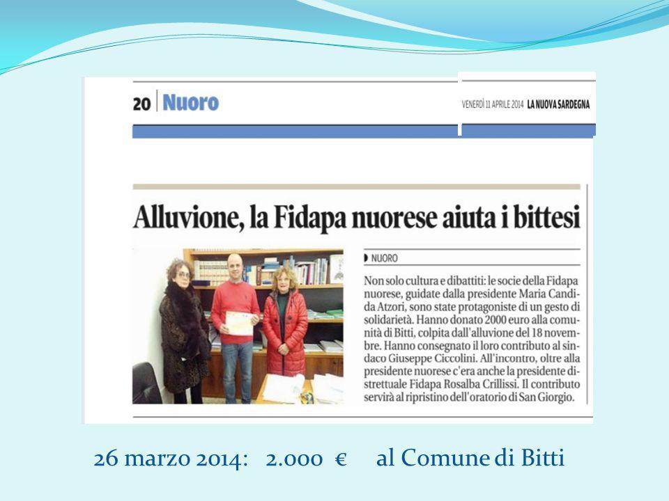 26 marzo 2014: 2.000 € al Comune di Bitti
