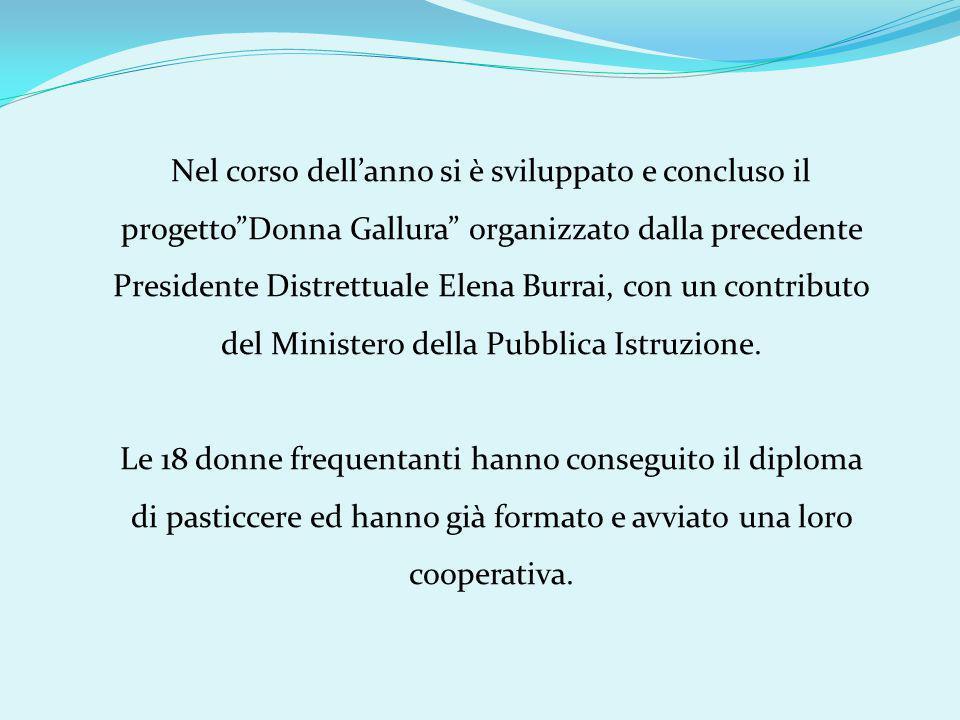 Nel corso dell'anno si è sviluppato e concluso il progetto Donna Gallura organizzato dalla precedente Presidente Distrettuale Elena Burrai, con un contributo del Ministero della Pubblica Istruzione.
