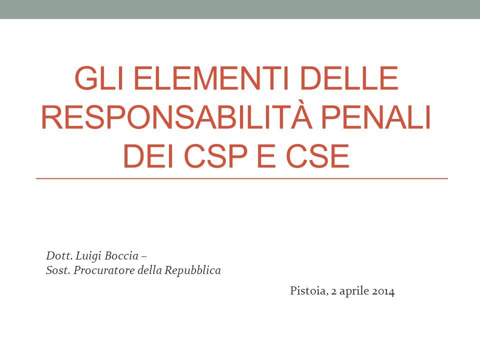 GLI ELEMENTI DELLE RESPONSABILITÀ PENALI DEI CSP E CSE Dott. Luigi Boccia – Sost. Procuratore della Repubblica Pistoia, 2 aprile 2014