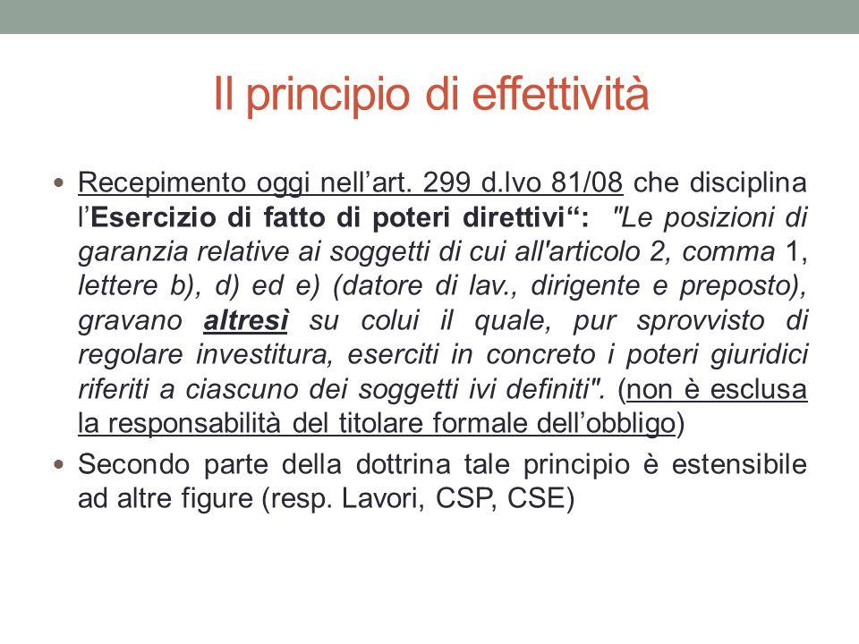 """Il principio di effettività Recepimento oggi nell'art. 299 d.lvo 81/08 che disciplina l'Esercizio di fatto di poteri direttivi"""":"""