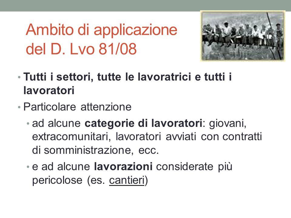 Ambito di applicazione del D. Lvo 81/08 Tutti i settori, tutte le lavoratrici e tutti i lavoratori Particolare attenzione ad alcune categorie di lavor