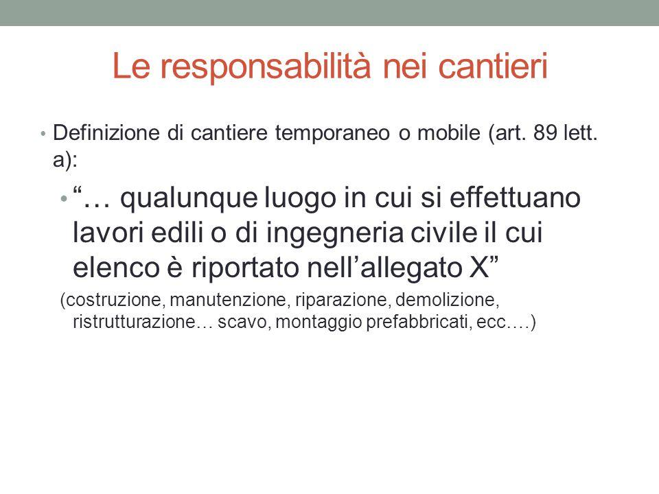 """Le responsabilità nei cantieri Definizione di cantiere temporaneo o mobile (art. 89 lett. a): """"… qualunque luogo in cui si effettuano lavori edili o d"""