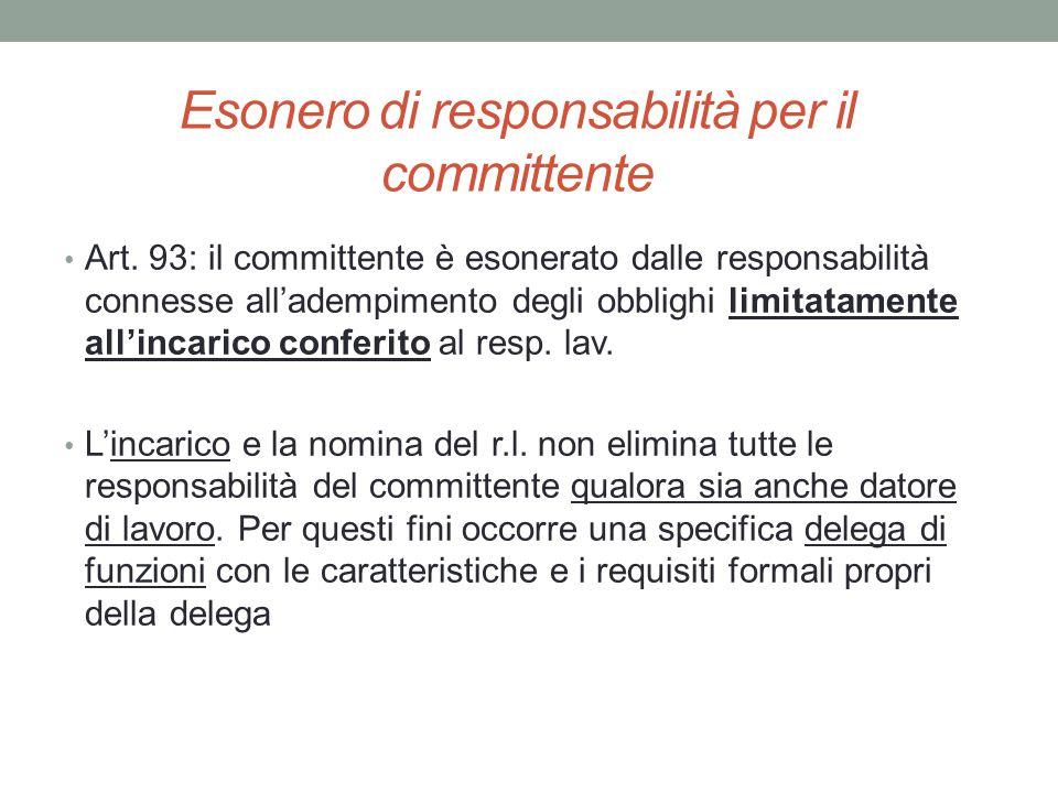 Esonero di responsabilità per il committente Art. 93: il committente è esonerato dalle responsabilità connesse all'adempimento degli obblighi limitata
