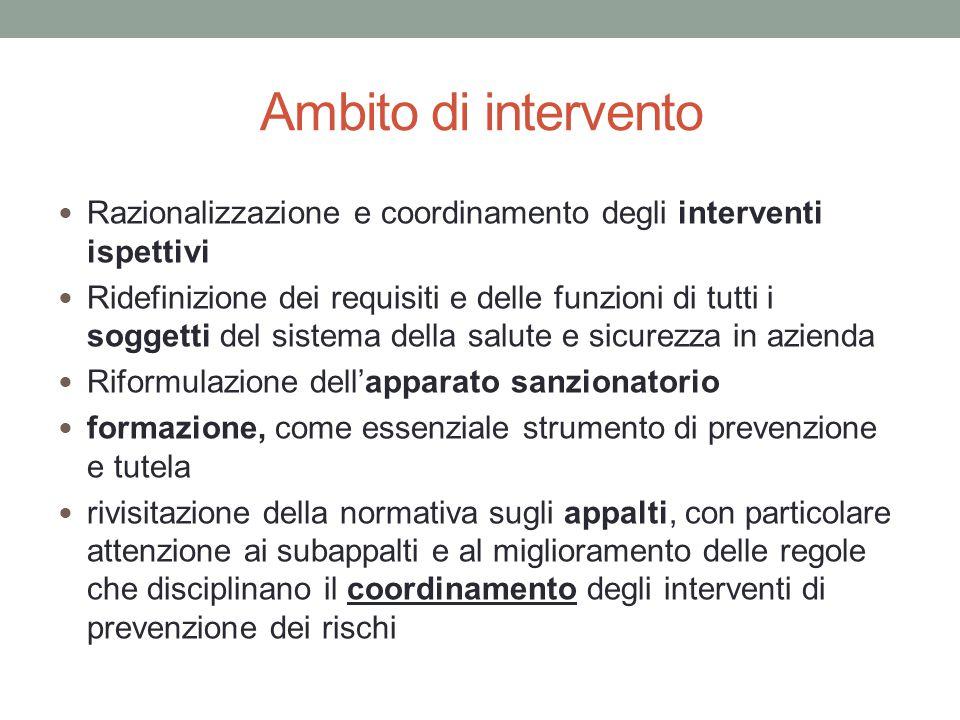 Ambito di intervento Razionalizzazione e coordinamento degli interventi ispettivi Ridefinizione dei requisiti e delle funzioni di tutti i soggetti del