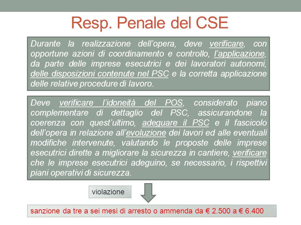 Resp. Penale del CSE Durante la realizzazione dell'opera, deve verificare, con opportune azioni di coordinamento e controllo, l'applicazione, da parte