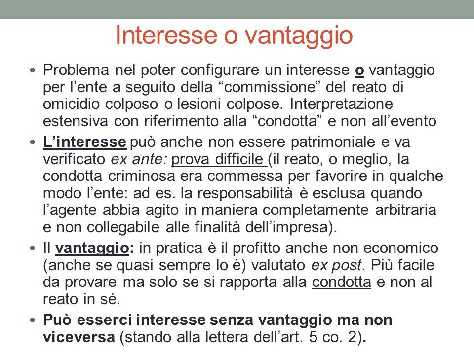 """Interesse o vantaggio Problema nel poter configurare un interesse o vantaggio per l'ente a seguito della """"commissione"""" del reato di omicidio colposo o"""