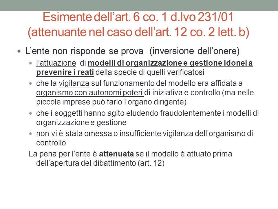 Esimente dell'art. 6 co. 1 d.lvo 231/01 (attenuante nel caso dell'art. 12 co. 2 lett. b) L'ente non risponde se prova (inversione dell'onere) l'attuaz