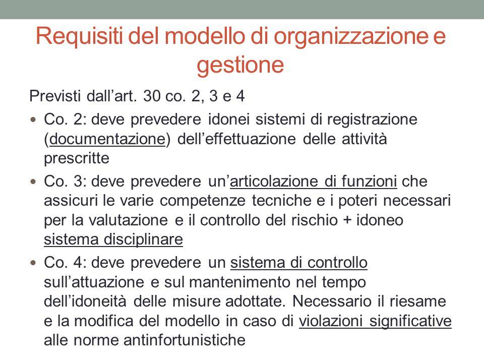 Requisiti del modello di organizzazione e gestione Previsti dall'art. 30 co. 2, 3 e 4 Co. 2: deve prevedere idonei sistemi di registrazione (documenta
