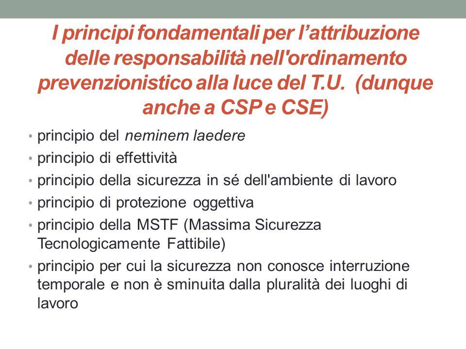 I principi fondamentali per l'attribuzione delle responsabilità nell'ordinamento prevenzionistico alla luce del T.U. (dunque anche a CSP e CSE) princi