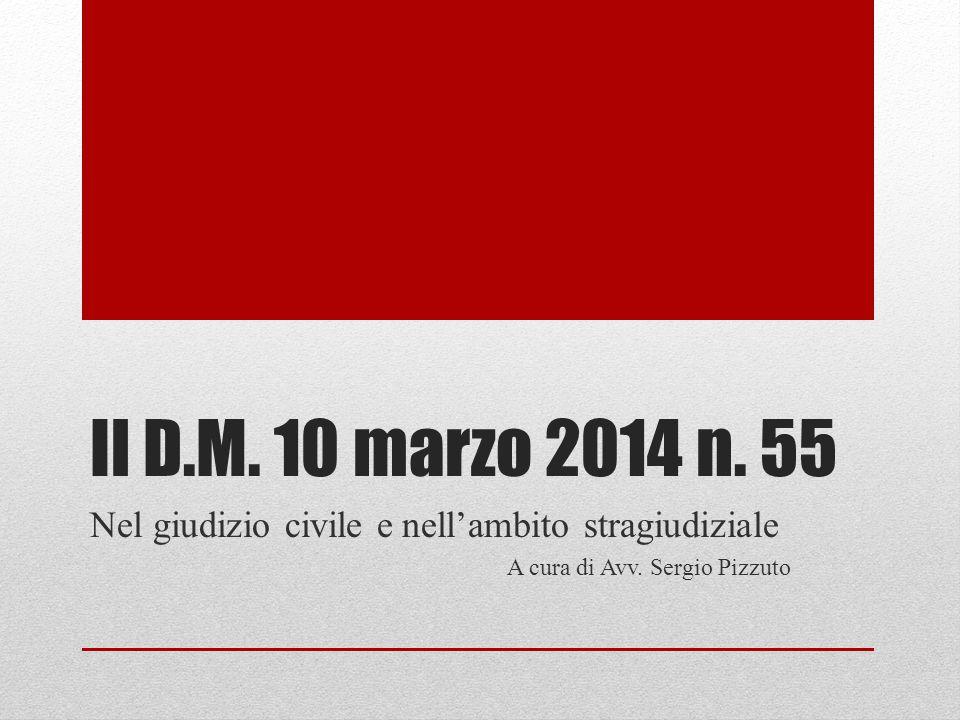 Il D.M. 10 marzo 2014 n. 55 Nel giudizio civile e nell'ambito stragiudiziale A cura di Avv. Sergio Pizzuto