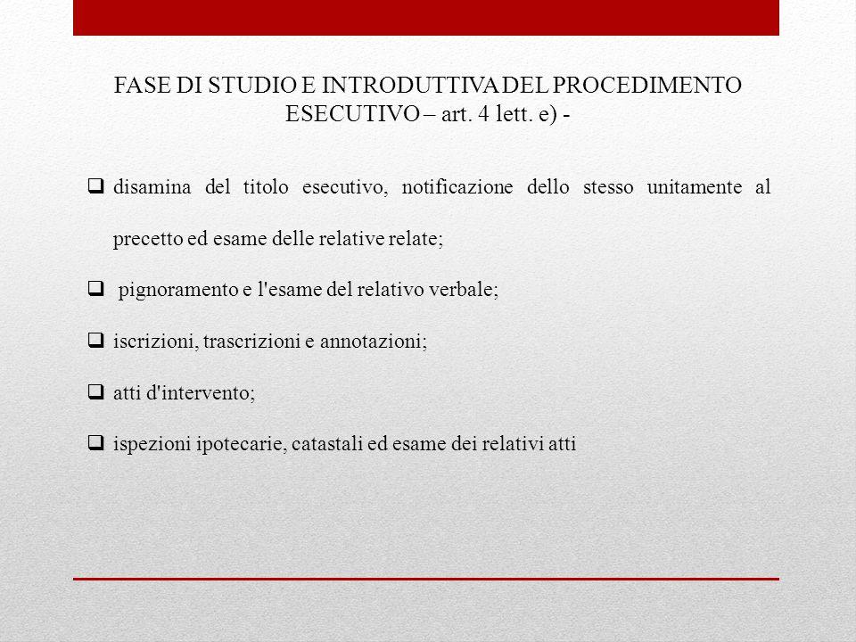 FASE DI STUDIO E INTRODUTTIVA DEL PROCEDIMENTO ESECUTIVO – art. 4 lett. e) -  disamina del titolo esecutivo, notificazione dello stesso unitamente al