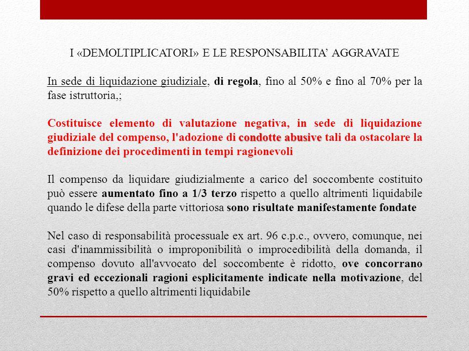 I «DEMOLTIPLICATORI» E LE RESPONSABILITA' AGGRAVATE In sede di liquidazione giudiziale, di regola, fino al 50% e fino al 70% per la fase istruttoria,;