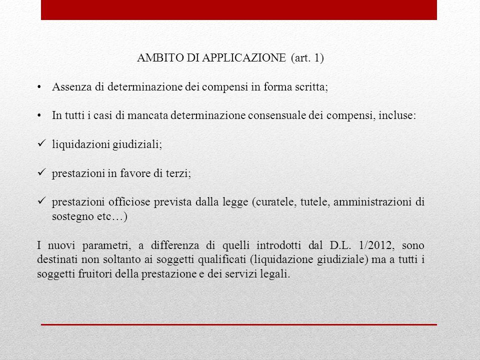 AMBITO DI APPLICAZIONE (art. 1) Assenza di determinazione dei compensi in forma scritta; In tutti i casi di mancata determinazione consensuale dei com