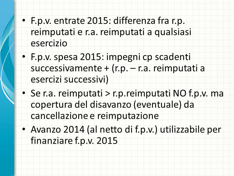 F.p.v. entrate 2015: differenza fra r.p. reimputati e r.a. reimputati a qualsiasi esercizio F.p.v. spesa 2015: impegni cp scadenti successivamente + (