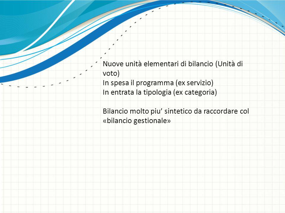 Nuove unità elementari di bilancio (Unità di voto) In spesa il programma (ex servizio) In entrata la tipologia (ex categoria) Bilancio molto piu' sint