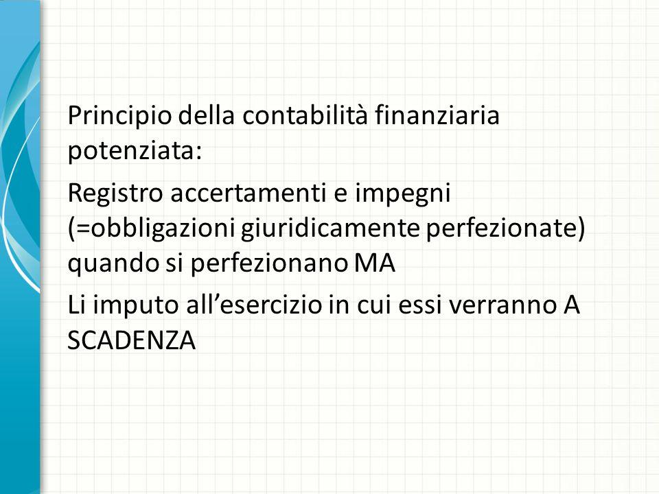 Principio della contabilità finanziaria potenziata: Registro accertamenti e impegni (=obbligazioni giuridicamente perfezionate) quando si perfezionano