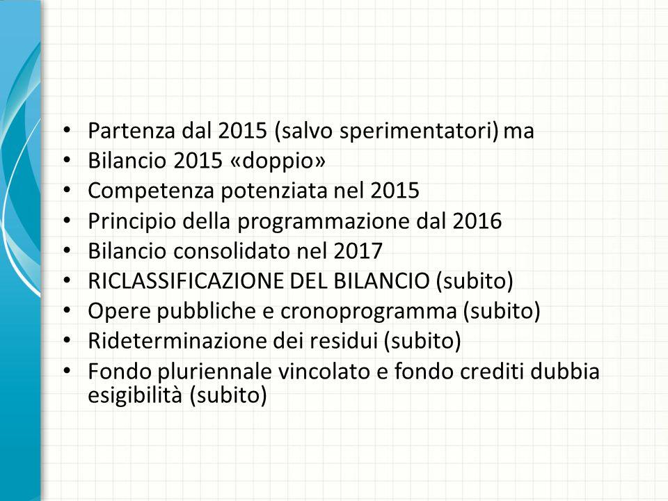 Partenza dal 2015 (salvo sperimentatori) ma Bilancio 2015 «doppio» Competenza potenziata nel 2015 Principio della programmazione dal 2016 Bilancio con