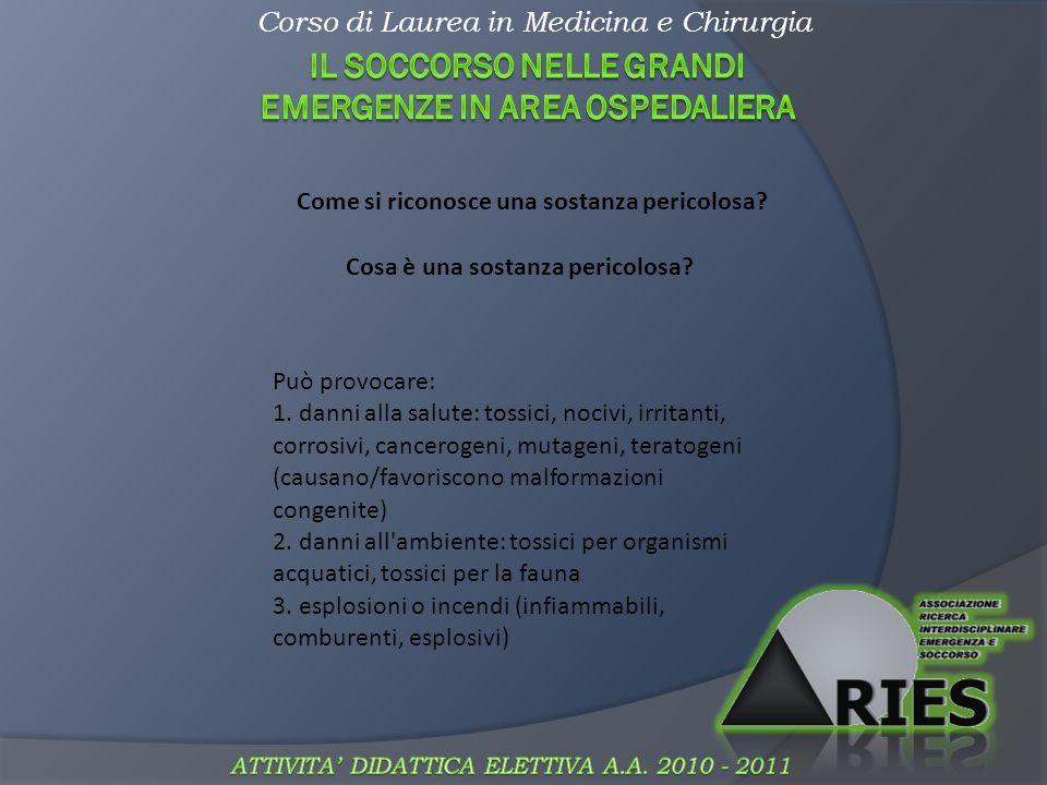 Corso di Laurea in Medicina e Chirurgia Maneggiare sostanze chimiche: 1.