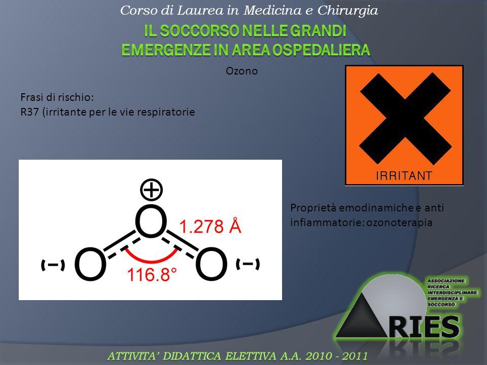 Corso di Laurea in Medicina e Chirurgia Comburenti Frasi di rischio: R8 (favorisce l infiammazione di sostanze combustibili) Alcuni pratici esempi: 1.