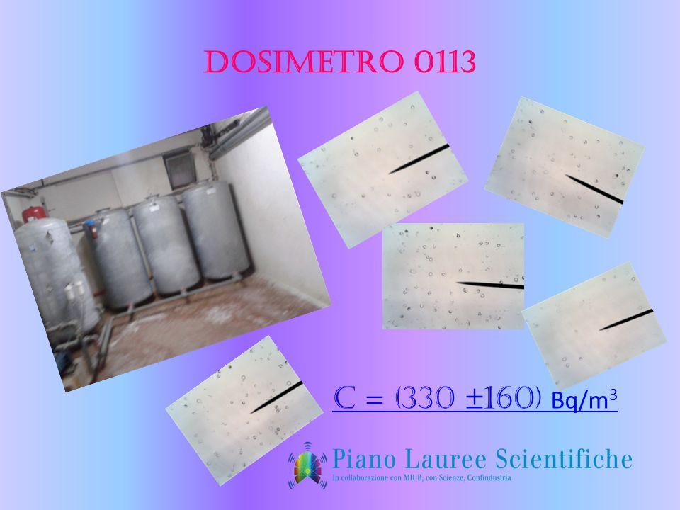 Dosimetro 0113 C = (330 ±160) Bq/m 3