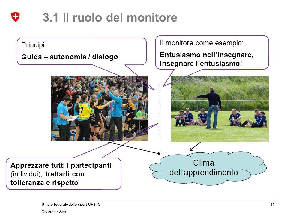 11 Ufficio federale dello sport UFSPO Gioventù+Sport 3.1 Il ruolo del monitore Clima dell'apprendimento Il monitore come esempio: Entusiasmo nell'inse
