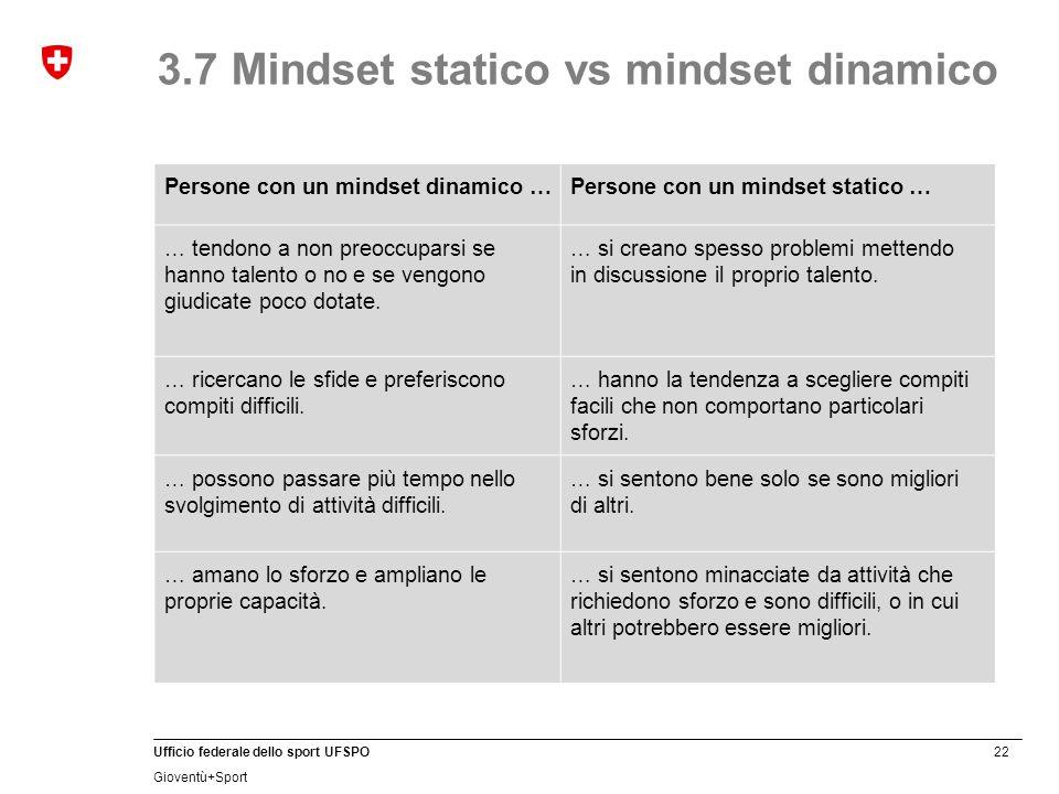 22 Ufficio federale dello sport UFSPO Gioventù+Sport 3.7 Mindset statico vs mindset dinamico Persone con un mindset dinamico …Persone con un mindset s