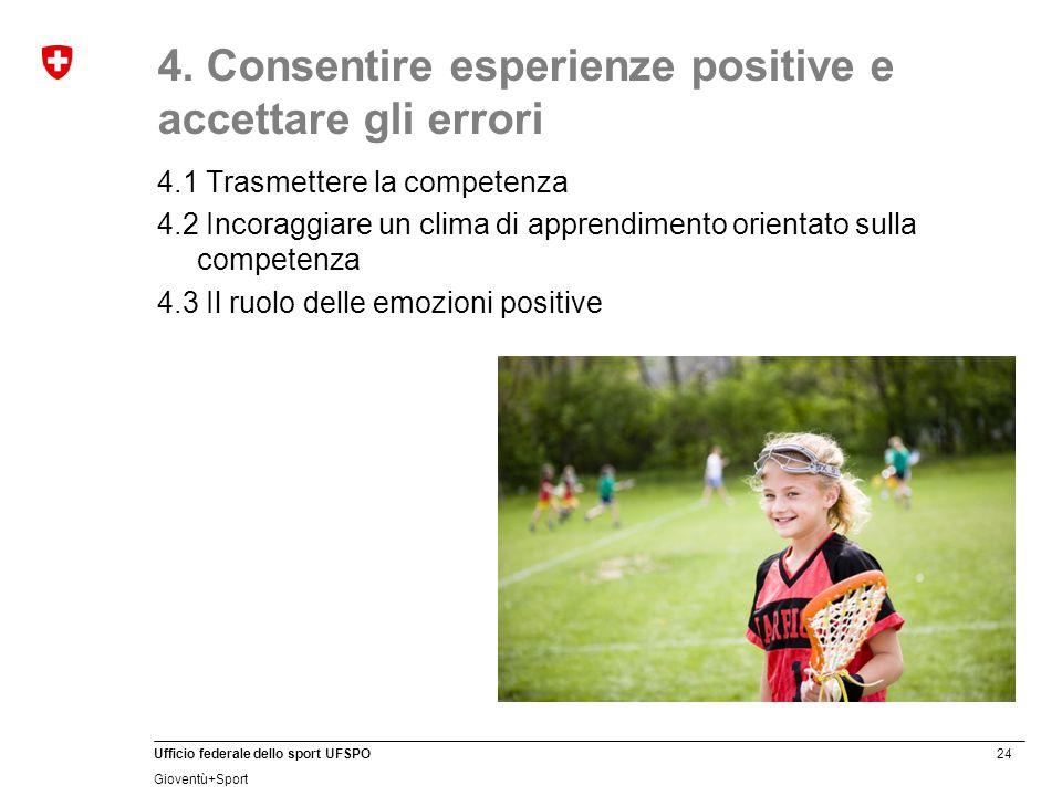 24 Ufficio federale dello sport UFSPO Gioventù+Sport 4. Consentire esperienze positive e accettare gli errori 4.1 Trasmettere la competenza 4.2 Incora