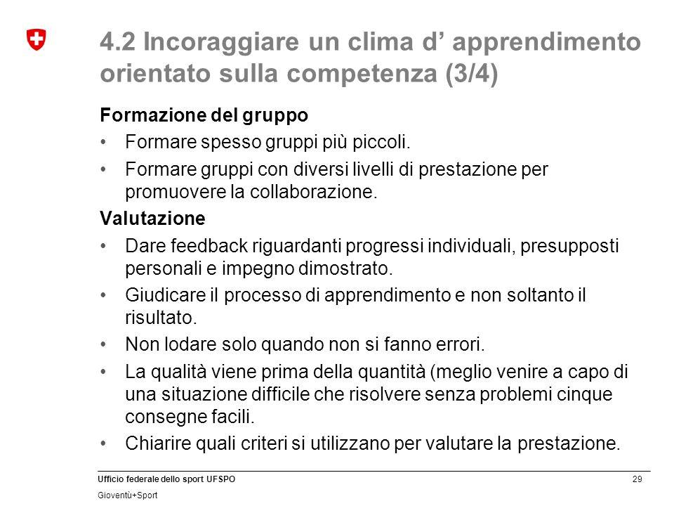 29 Ufficio federale dello sport UFSPO Gioventù+Sport 4.2 Incoraggiare un clima d' apprendimento orientato sulla competenza (3/4) Formazione del gruppo