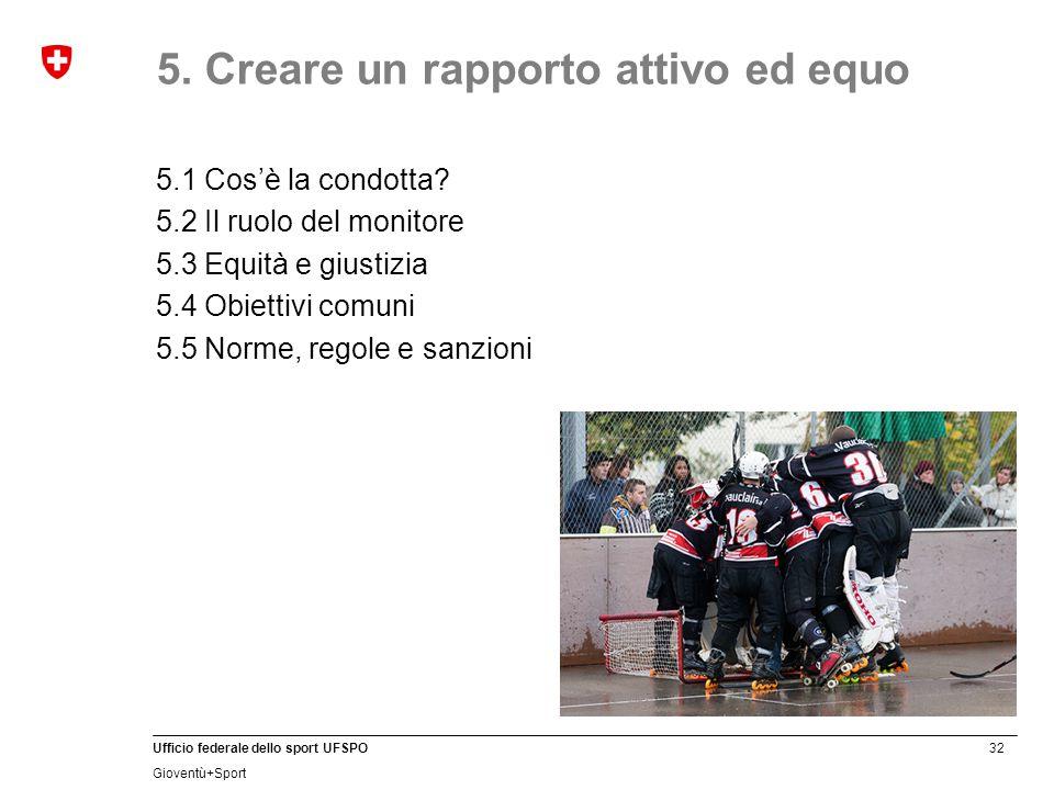 32 Ufficio federale dello sport UFSPO Gioventù+Sport 5. Creare un rapporto attivo ed equo 5.1 Cos'è la condotta? 5.2 Il ruolo del monitore 5.3 Equità