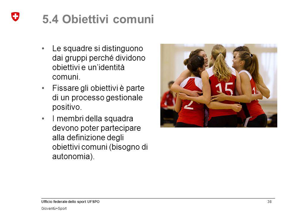 38 Ufficio federale dello sport UFSPO Gioventù+Sport 5.4 Obiettivi comuni Le squadre si distinguono dai gruppi perché dividono obiettivi e un'identità