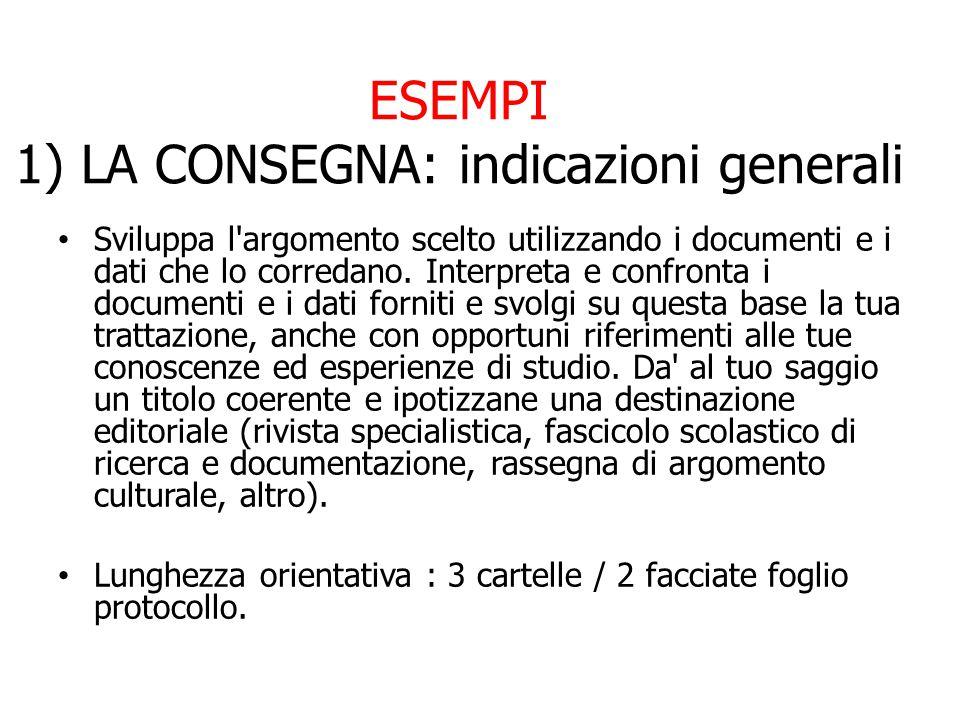 ESEMPI 1) LA CONSEGNA: indicazioni generali Sviluppa l argomento scelto utilizzando i documenti e i dati che lo corredano.