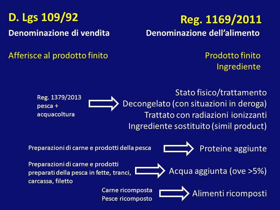 Denominazione di venditaDenominazione dell'alimento Afferisce al prodotto finitoProdotto finito Ingrediente Stato fisico/trattamento Decongelato (con