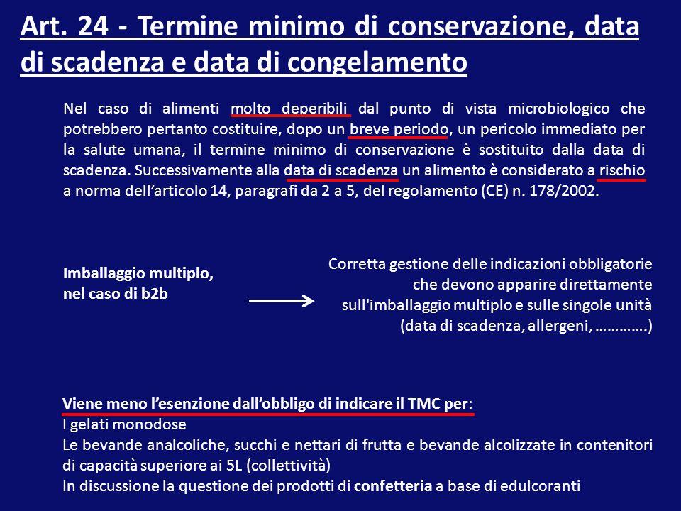 Art. 24 - Termine minimo di conservazione, data di scadenza e data di congelamento Nel caso di alimenti molto deperibili dal punto di vista microbiolo