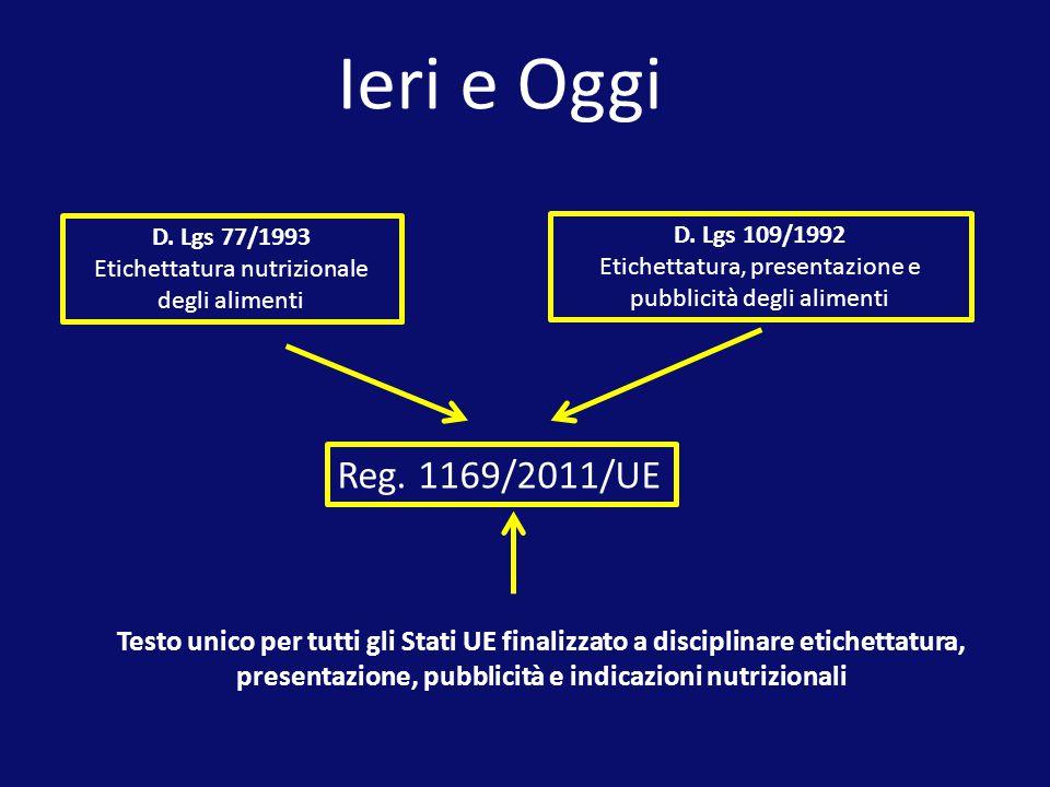 Reg. 1169/2011/UE D. Lgs 109/1992 Etichettatura, presentazione e pubblicità degli alimenti D. Lgs 77/1993 Etichettatura nutrizionale degli alimenti Te