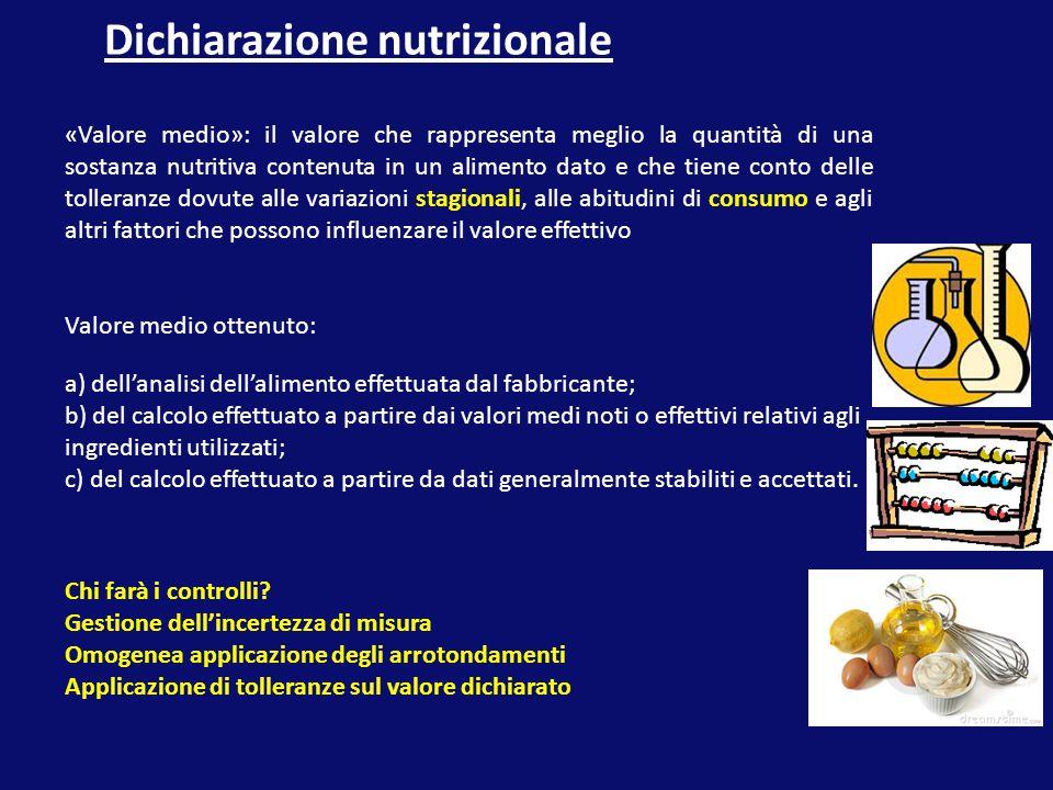 Dichiarazione nutrizionale «Valore medio»: il valore che rappresenta meglio la quantità di una sostanza nutritiva contenuta in un alimento dato e che