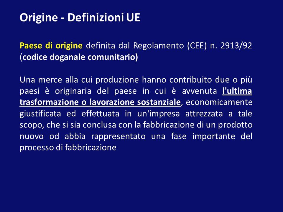 Origine - Definizioni UE Paese di origine definita dal Regolamento (CEE) n. 2913/92 (codice doganale comunitario) Una merce alla cui produzione hanno