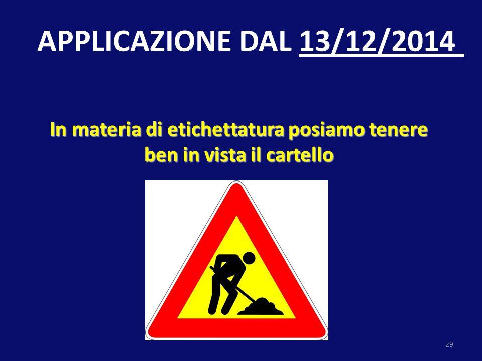 29 In materia di etichettatura posiamo tenere ben in vista il cartello APPLICAZIONE DAL 13/12/2014