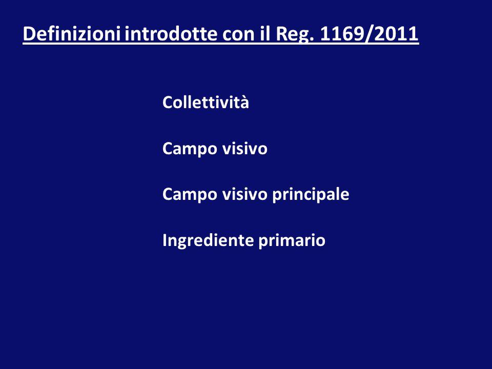 Definizioni introdotte con il Reg. 1169/2011 Collettività Campo visivo Campo visivo principale Ingrediente primario