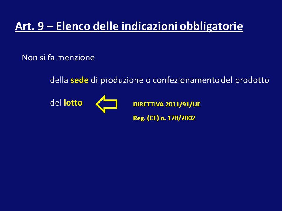Art. 9 – Elenco delle indicazioni obbligatorie Non si fa menzione della sede di produzione o confezionamento del prodotto del lotto DIRETTIVA 2011/91/
